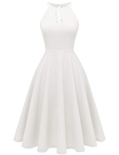 Bbonlinedress Damen Cocktailkleid Elegant Kleid Abendkleider Rockabilly Kleid Retro Vintage Neckholder Kleider Brautkleid Ivory S