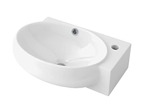 STARBATH PLUS Lavabo Cerámica Sobre Encimera Ovalado Blanco Para Colgar A Pared 43 x 28 x 12 cm SOVAL-W