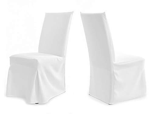 TexDeko Universal Stuhlhusse - Modell Paris - Weiß waschbar und wiederverwendbar Stuhlbezug Premium Qualität