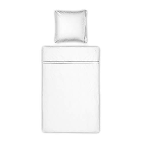 MÖVE Noblesse Bettwäsche-Set 135 x 200 cm + 80 x 80 cm aus 100% Supima-Baumwolle, white/grey