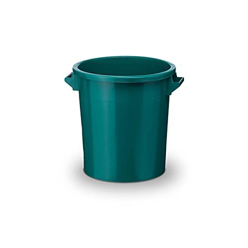 35Liter Kunststofftonne mit Handgriffen + Deckel, lebensmittelecht, stapelbar, stabiler Eimer, Plastiktonne, R&behälter, Universaltonne, Allzweckeimer, Vorratstonne, Futtertonne, Mülltonne, 1x Grün