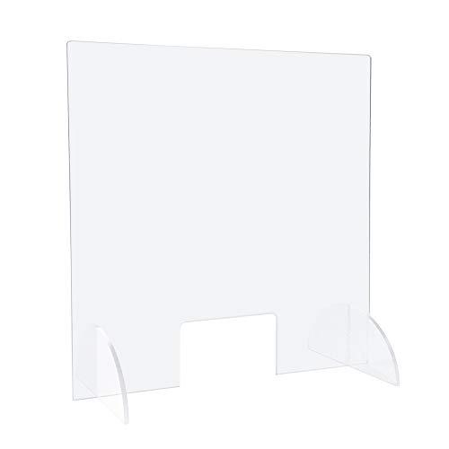 Spuckschutz (70.0 x 90.0 cm) Hustenschutz als Schutzwand und Schutzscheibe aus PLEXIGLAS mit Durchreiche