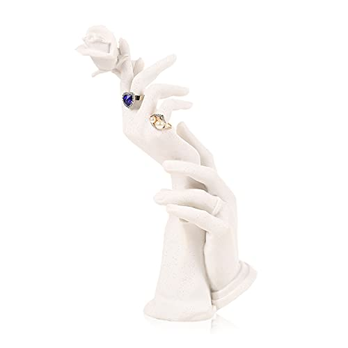 Resina Forma de Mano Anillo de Cadena de Mano Soporte de Pantalla de maniquí Hembra maniquí Mano joyería Pantalla de Pantalla Pulsera Collar Anillo Stand Organizador (Color : White)