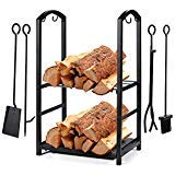 Syntrific Fireplace Log Rack with 4 Fireplace Tools Fireplace Log Holder for Indoor and Outdoor Heavy Duty Steel Black Fireplace Log Rack Wrought Iron Logs Bin Holder for Fireplace Tool Set