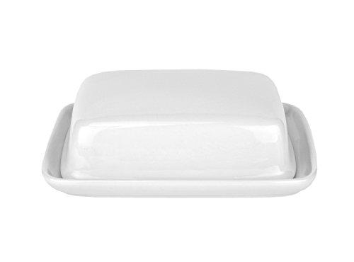 Van Well Geschirr-Serie Avanti-Kollektion, Porzellan zum Servieren für Privat und Gastronomie, Butterdose mit Deckel