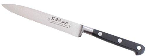 K SABATIER - Couteau Tomate 13 Cm Gamme Authentique - Acier Inoxydable - Manche Noir - 100% Forge - Entièrement Fabrique en France