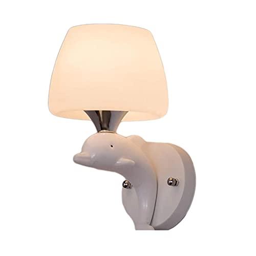 YONGYONGCHONG lámpara de Pared Lámpara de Cama de Dormitorio de Vidrio Moderno Minimalista Creativo Estilo de delfín Sala de Estar lámpara Escalera Pasillo balcón iluminación