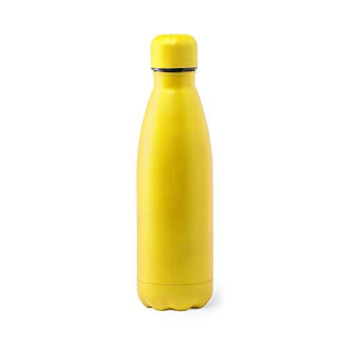 Gargolaes - Borraccia digitale in acciaio inox, senza BPA, riutilizzabile, per bambini, sport, palestra, trekking, giallo, 790 ml