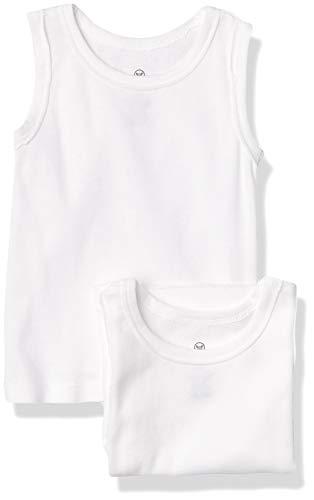 HonestBaby Muscle Tee Sleeveless T-Shirt Multi-Packs, 10-Pack Bright White, 0-3 Months