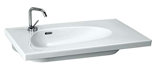 Laufen Palomba Waschtisch unterbaufähig, asymmetrisch, 1 Hahnloch mittig, mit Überlauf, 800x500, Farbe: Weiß mit LCC