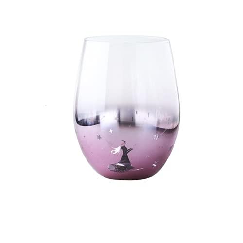 ZHKP Galvanoplastia Copa de agua de vidrio estrellado taza de deseos creativo hogar tendencia arco iris taza de bebidas taza mojito (rosa)