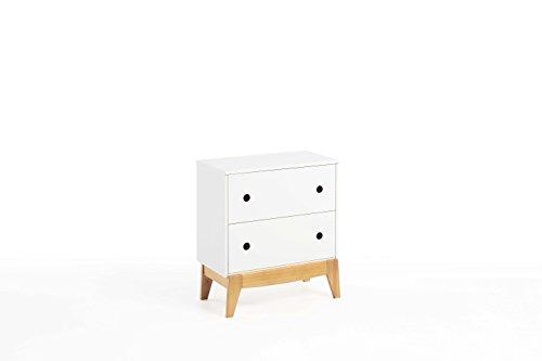 Dogar Table de Chevet à 2 tiroirs, Style Nordique, Blanc laqué et chêne, Simple, 49 x 36 x 11 cm