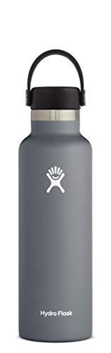 Hydro Flask Trinkflasche 621ml (21oz), Edelstahl und vakuumisoliert, Standard-Öffnung mit auslaufsicherer Flex Cap, Stone