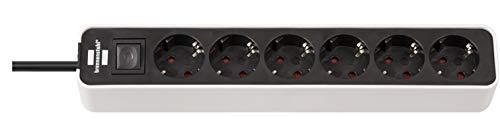Brennenstuhl Ecolor Steckdosenleiste 6-fach (Steckerleiste mit Schalter und 1,5m Kabel) schwarz/weiß