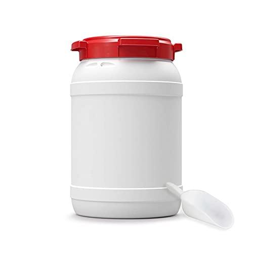 Futtertonne für Tierfutter mit Deckel & Schaufel | Große Öffnung | Tierfutterbehälter | Futtercontainer | Futterbox | HDPE | Top-Qualität (20 Liter)