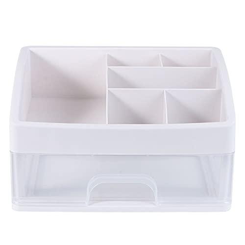 N\C Cajón cosmético transparente contenedor de maquillaje de escritorio variado caja de joyería para almacenamiento blanco (tamaño pequeño 1 Lay