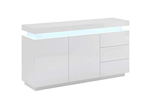 Aparador Modelo Osim Color Blanco y Gris - Todo el Mueble PVC Alto Brillo