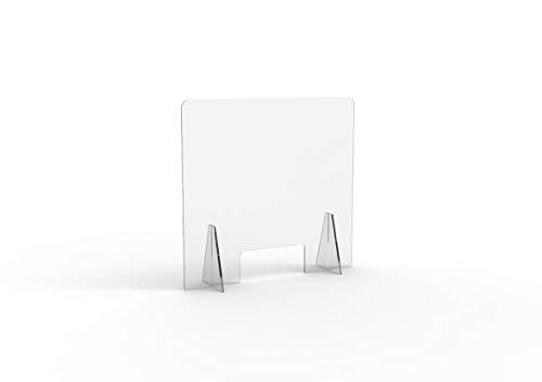 Shape Acrilic Design Parafiato in Plexiglass Trasparente da banco Autoportante Barriera Divisoria di Protezione con Apertura passasoldi Varie Misure (80xH75cm)