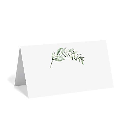 Bliss Collections Greenery - Tarjetas para bodas o fiestas, tarjetas de asiento para mesas, fácil de plegar, paquete de 50, 2 x 3.5 pulgadas