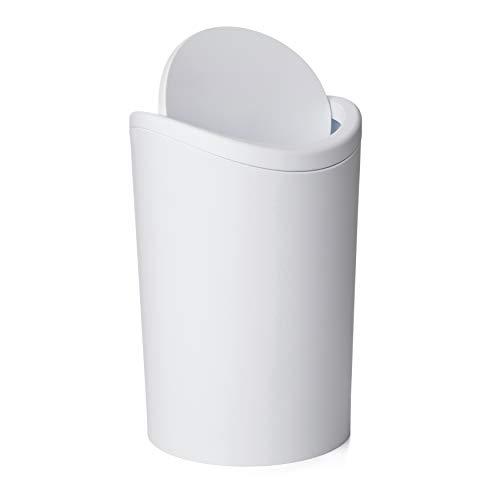 Tatay Papelera Baño con Tapa Basculante, 6L de Capacidad, de Polipropileno, Libre de BPA, Color Blanco, Medidas 19 x 19 x 28 cm