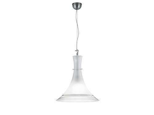 Effen LED hanglamp met kegelvormige melkglazen scherm, 45 cm groot