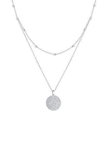 Elli Halskette Damen Münze Plättchen Lagenlook mit Kristalle in 925 Sterling Silber