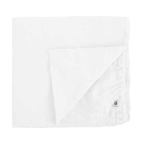Linen & Cotton Drap Housse Extra Douce Alicia, 100% Lin Lavé - Blanc (140 x 200cm - Double)