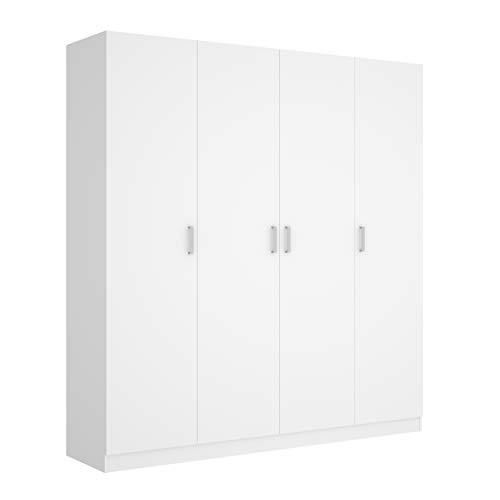 Mobelcenter - Armario 4 Puertas Maxi - Armario Matrimonio 215 cm de Altura - Color Blanco - Ancho: 200 cm x Fondo: 52 cm x Alto: 215 cm - (1202)