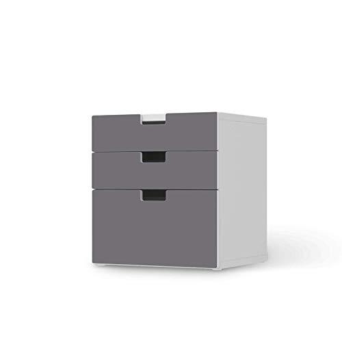 creatisto Möbel Klebefolie für Kinder - passend für IKEA Stuva Kommode - 3 Schubladen (Kombination 1) I Tolle Möbelsticker für Kinderzimmer Einrichtung I Design: Grau Light