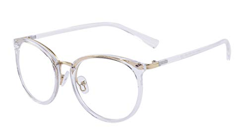 ALWAYSUV Retro Fashion Klassische runde Brille Metall Vollrahmen klare Linsenbrille für Frauen/Männer