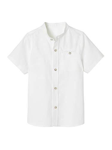 VERTBAUDET Camisa con Cuello Mao y Manga Corta de algodón/Lino para niño Blanco Claro Liso 12A
