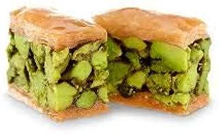 Pistachio Asiyeh Baklava Pastry (Baklawa)| 90 Pieces (35 Oz)| Crust Rich Phyllo Dough lightly baked, Gourmet Oriental Dessert, Arabic Fistikli, Gluten-Free, Non-GMO, Light Treats in Elegant Gift Box