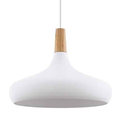 EGLO lampada a sospensione SABINAR, lampada a sospensione moderna a 1 punto luce, lampada appesa in acciaio e legno, colore: bianco, marrone, attacco: E27, diametro: 40 cm