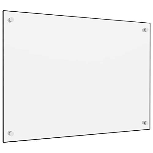 vidaXL Küchenrückwand Spritzschutz Fliesenspiegel Glasplatte Rückwand Herdspritzschutz Wandschutz Herd Küche Weiß 70x50cm Hartglas