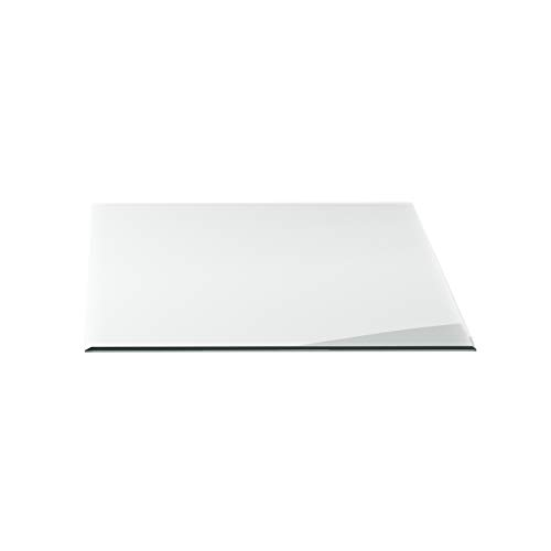 Funkenschutzplatte G7 rechteckig ESG 6mm x 1200mm x 1000mm mit 18mm Facette Glasplatte Bodenplatte Kaminplatte Funkenschutz Ofenplatte Kaminglas