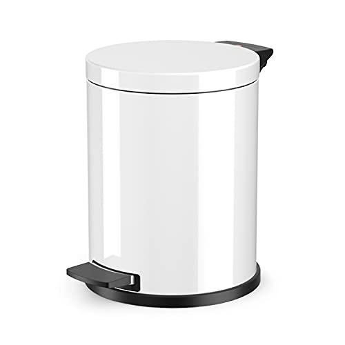 Hailo Solid M Mülleimer , 1 x 12 Liter , Treteimer mit Kunststoff Inneneimer , Tretmülleimer , Tragegriff , Stahlblech , Anti-Rutsch-Füße , Mülleimer Küche rund , Made in Germany , weiß