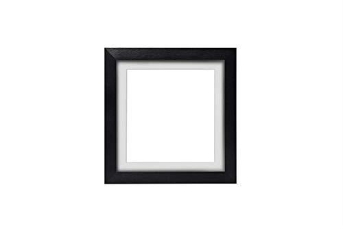 3-D Instagram Quadrat Bilderrahmen/Foto -/Posterrahmen mit maßgeschneidertem Ständer - Schwarz Rahmen mit weißem Montierung - 6 x 6 Zoll für 4 x 4 Zoll Bilder