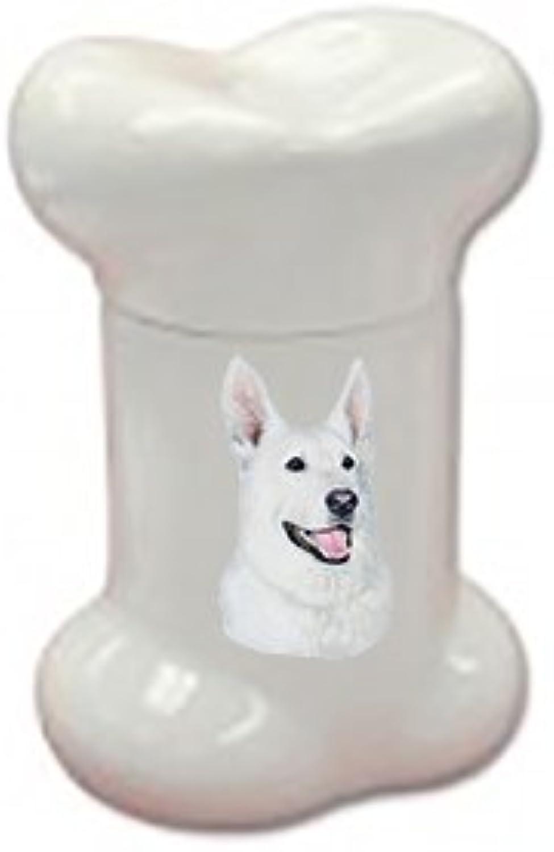 Best of Breed German Shepherd White Doggie Bone Treat Jar