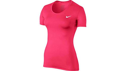 NIKE Pro Camiseta Cuello Redondo Manga Corta Poliéster, Spandex - Camisas y Camisetas (Camiseta, Adulto, Femenino, Rosa, Monótono, M)