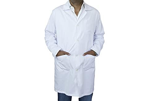 BSPOT Vestaglia medica a maniche lunghe, colore bianco, camice da laboratorio sanitario da lavoro per medici da uomo Bianco L