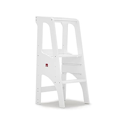Bianconiglio Kids ® EVO 2019 Torre de aprendizaje Montessori acabado blanco mate, regulable en altura