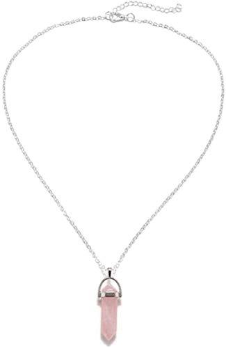 Yiffshunl Collar de Moda Hexagonal cilíndrico Collar de Cuarzo Colgante de Piedra Natural Bala de Cristal Rosa Collar de energía joyería de Las Mujeres