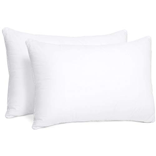 HOMEIDEAS Standard Bed Pillows for Sleeping Set of 2 - Luxury Down Alternative Pillows, Premium Hypoallergenic Plush Fiber - Good for Side and Back Sleeper