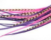 Genuine 4- 7 Pinks & Purples Feathers for Hair Extension! 5 Feathers by SEXY SPARKLES