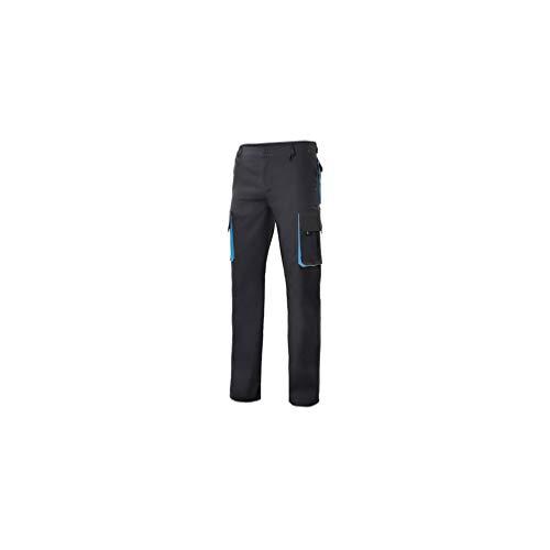 VELILLA - Pantalón Bicolor Multibolsillos con Refuerzo de Tejido 103004 Hombre Negro-Celeste 48