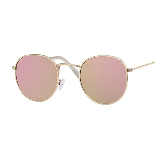 Gafas de Sol Gafas De Sol Ovaladas Vintage De Diseñador para Mujer, Lentes Transparentes Retro, Gafas De Sol Redondas para Mujer, Rosa Dorado