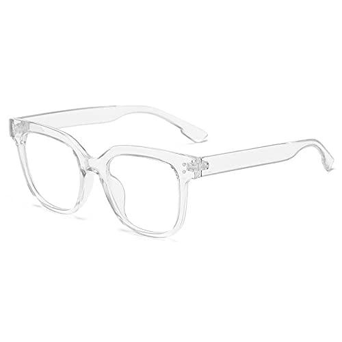 Powzz ornament Gafas con montura negra Vintage Anti luz azul, gafas cuadradas con montura de espejo plano para mujeres, hombres, uñas de arroz, armacao de oculos Retro-3_White_Universal