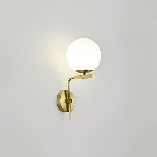 Zziyj Vintage Wall Light Medio Siglo Muro Apliques, Lámpara De Luz De Vanidad De Globo Lámpara De Pared De La Frijol Mágica Para El Baño Sala De Estar Tallo De Esfera, Oro Cepillado (1 Luz)
