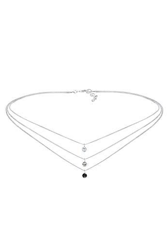 Elli Halskette Damen Choker Layer mit Swarovski® Kristalle in 925 Sterling Silber
