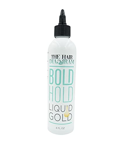 Bold Hold Liquid Gold - The Hair Diagram - Temporary Hold for Lace Front Wigs & Hair Systems, Glue Less Product, 8 Oz